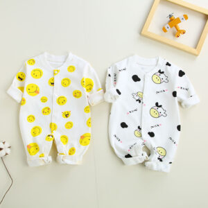 New born baby full sleeves all over printed rompers