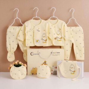 7 pieces gift set for new born baby- Animal print-Pure cotton light brown