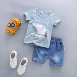 Blue Shirt & Denim Shorts