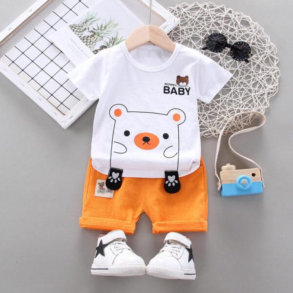 White shirt & orange contrast shorts