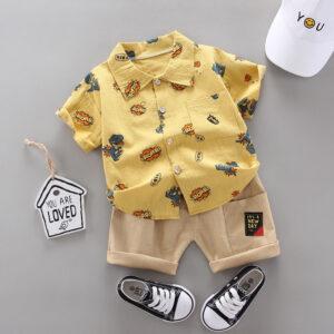Yellow shirt-Cotton weave printed casual shirt (2)