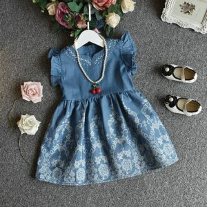 Embroidered Denim Frock