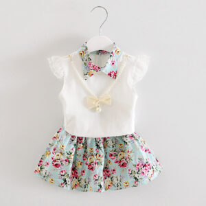 Floral Print Girls 2 Piece Frock Set (4)
