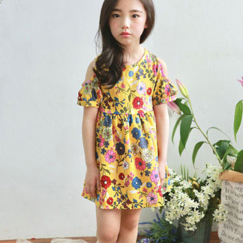 Floral Print Yellow Frock (2)