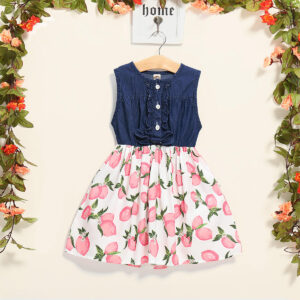Girls Floral Frock With Denim Tops (4)
