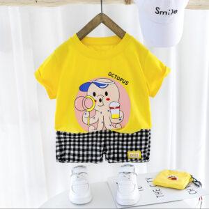 Yellow Shirt & Check Shorts