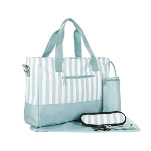 Zinc Stripped 2 Piece Canvas Large Capacity Tote Bag